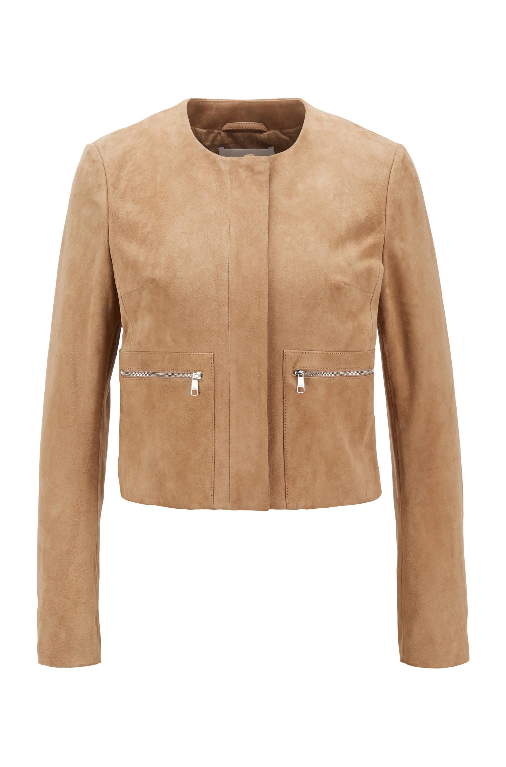 Cropped collarless biker jacket in suede, Brown