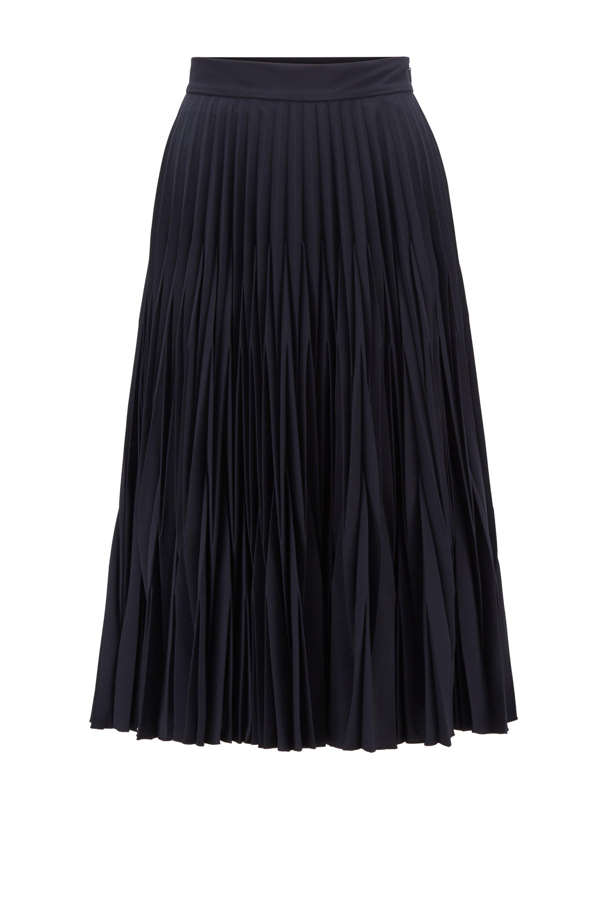 Crinkle-crepe midi skirt with graduated plissé pleats, Dark Blue