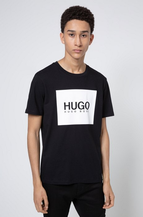 Regular-fit T-shirt in cotton jersey with logo print, Black