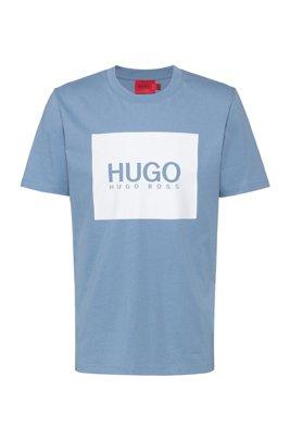 T-shirt Regular Fit en jersey de coton à logo imprimé, Bleu