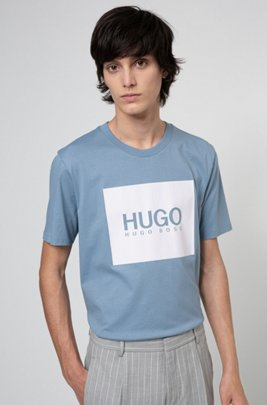 Regular-fit T-shirt in cotton jersey with logo print, Blue