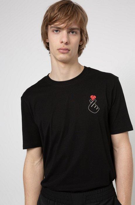 T-shirt en coton à imprimé Saint-Valentin, Noir