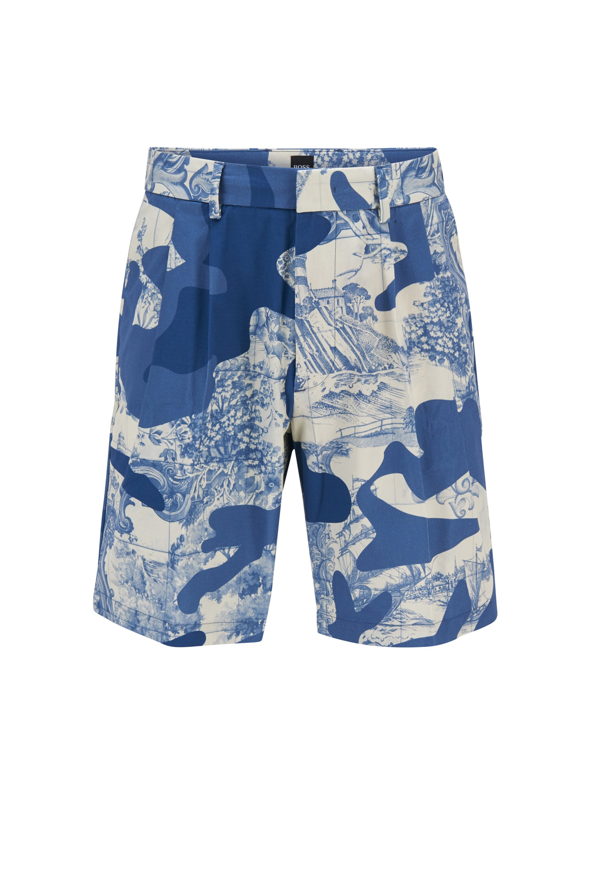 Regular-Fit Shorts aus Stretch-Baumwolle mit saisonalem Print, Blau gemustert