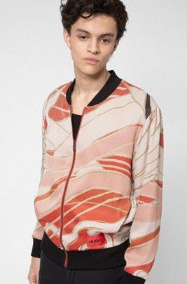 Oversized-fit bomber-style sweatshirt with Japanese-crane print, Patterned