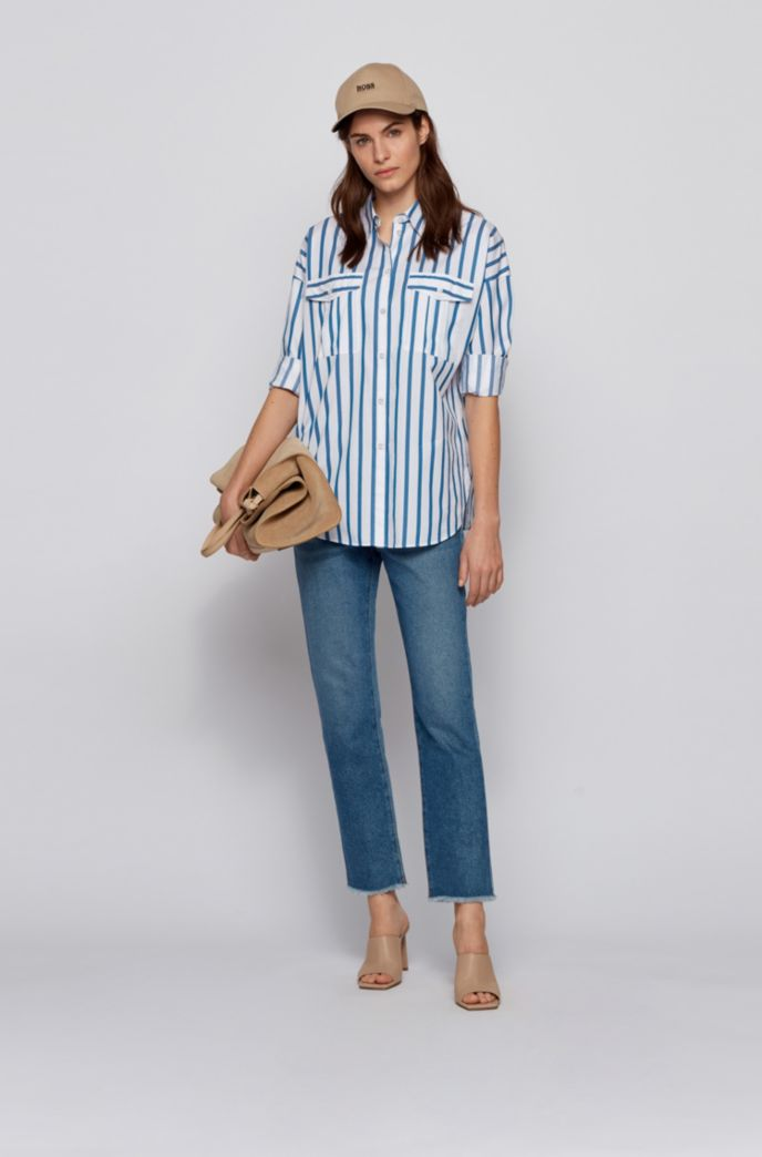 Striped relaxed-fit blouse in stretch-cotton poplin