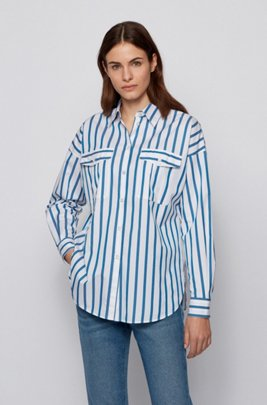Striped relaxed-fit blouse in stretch-cotton poplin, Light Blue