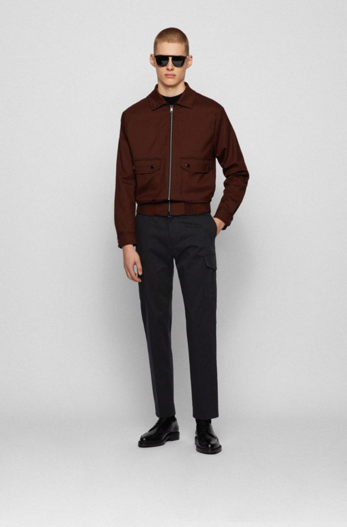 Slim-fit cargo trousers in stretch-cotton satin