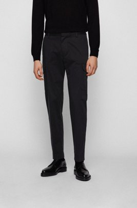 Slim-fit cargo trousers in stretch-cotton satin, Black