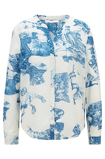 宽松版型棉质真丝混纺印花女士衬衫,  976_多色