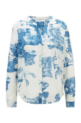 Relaxed-fit blouse in a printed cotton-silk blend, Patterned