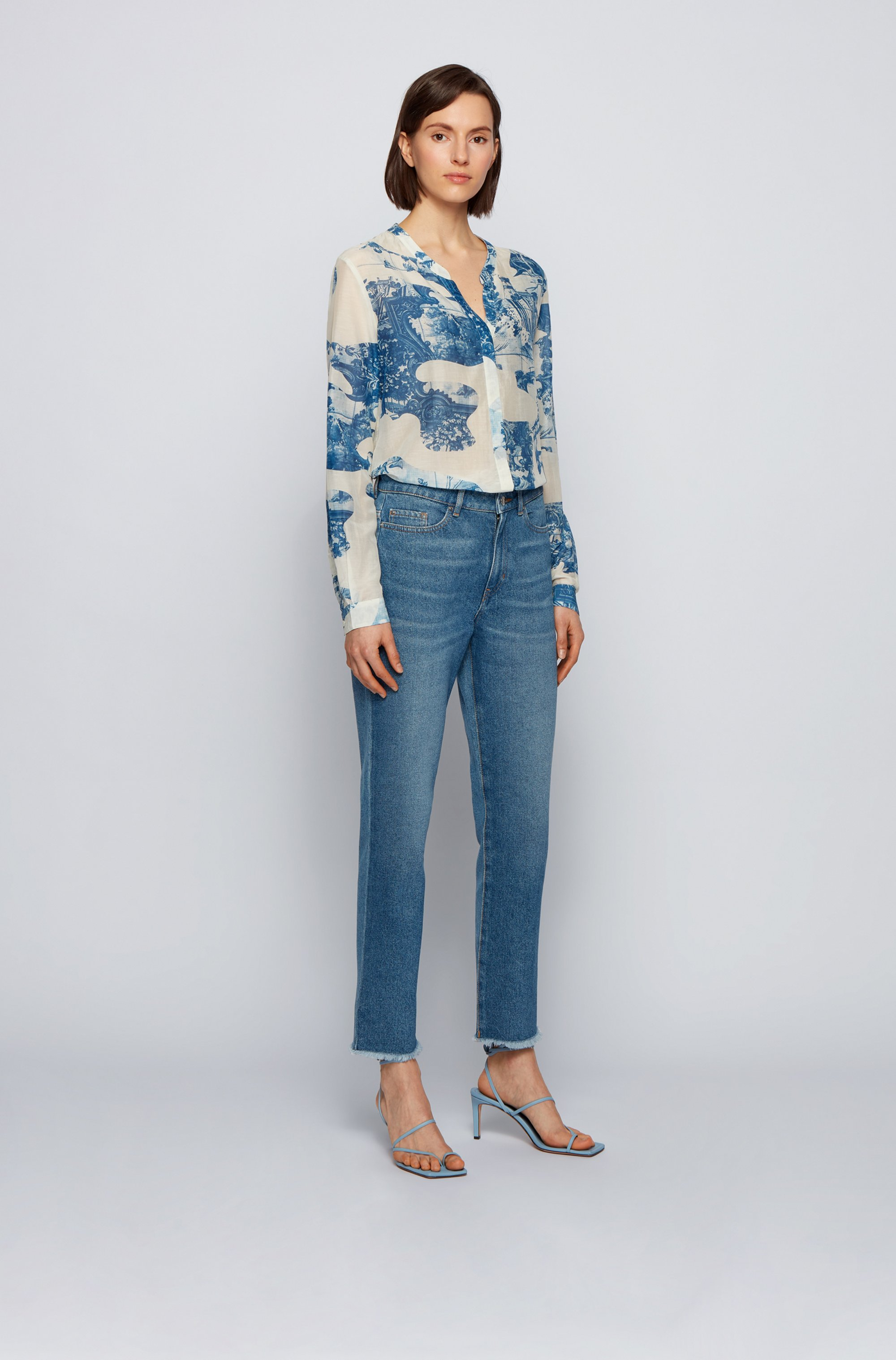 Relaxed-fit blouse in a printed cotton-silk blend