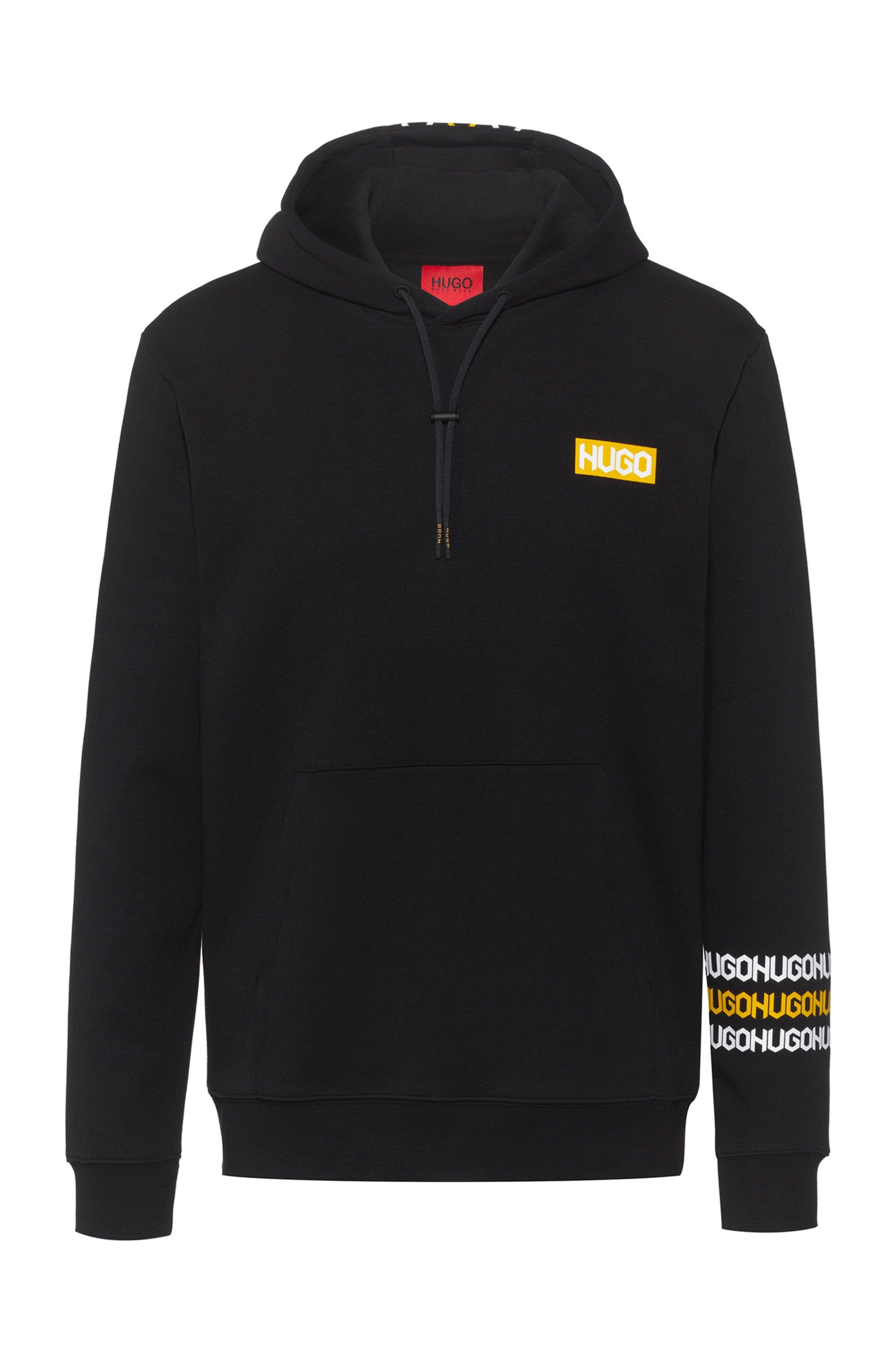 Sweater met capuchon van katoenen sweatstof met logoprints in bandafdruk-stijl, Zwart