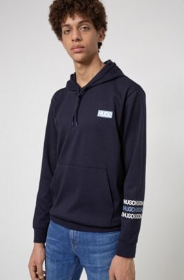 French-terry cotton hooded sweatshirt with tyre-print logos, Dark Blue