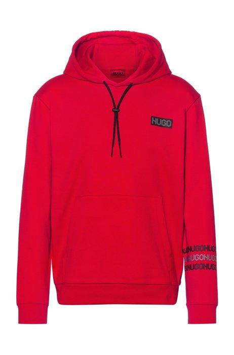 Sweater met capuchon van katoenen sweatstof met logoprints in bandafdruk-stijl, Rood