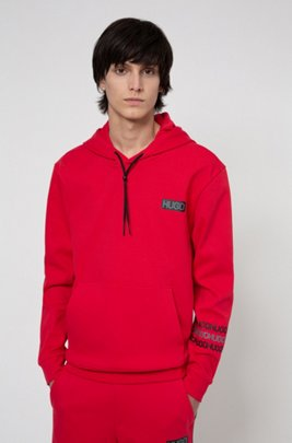 French-terry cotton hooded sweatshirt with tyre-print logos, Red