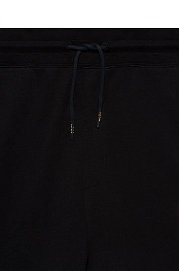 胎印徽标棉质毛圈布运动裤,  001_黑色