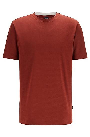提花条纹装饰常规版型棉质 T 恤,  224_铜棕色
