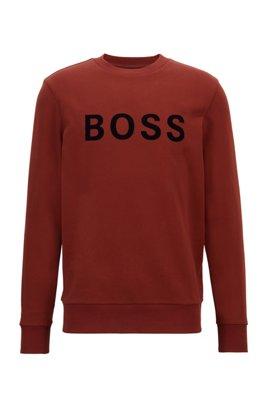 French-terry regular-fit sweatshirt in mercerised cotton, Brown