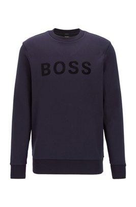 French-terry regular-fit sweatshirt in mercerised cotton, Dark Blue