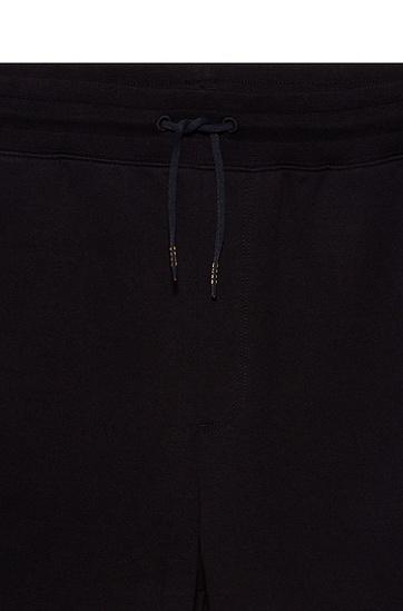 胎印徽标棉质毛圈布短裤,  001_黑色