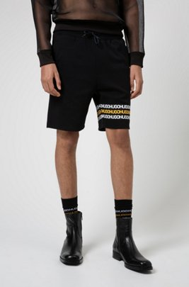 Cotton-terry shorts with tyre-print logos, Black
