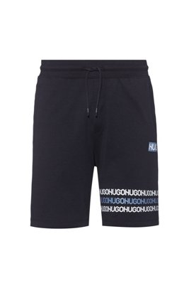 Cotton-terry shorts with tyre-print logos, Dark Blue