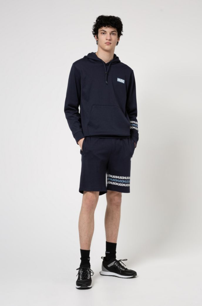 Cotton-terry shorts with tyre-print logos