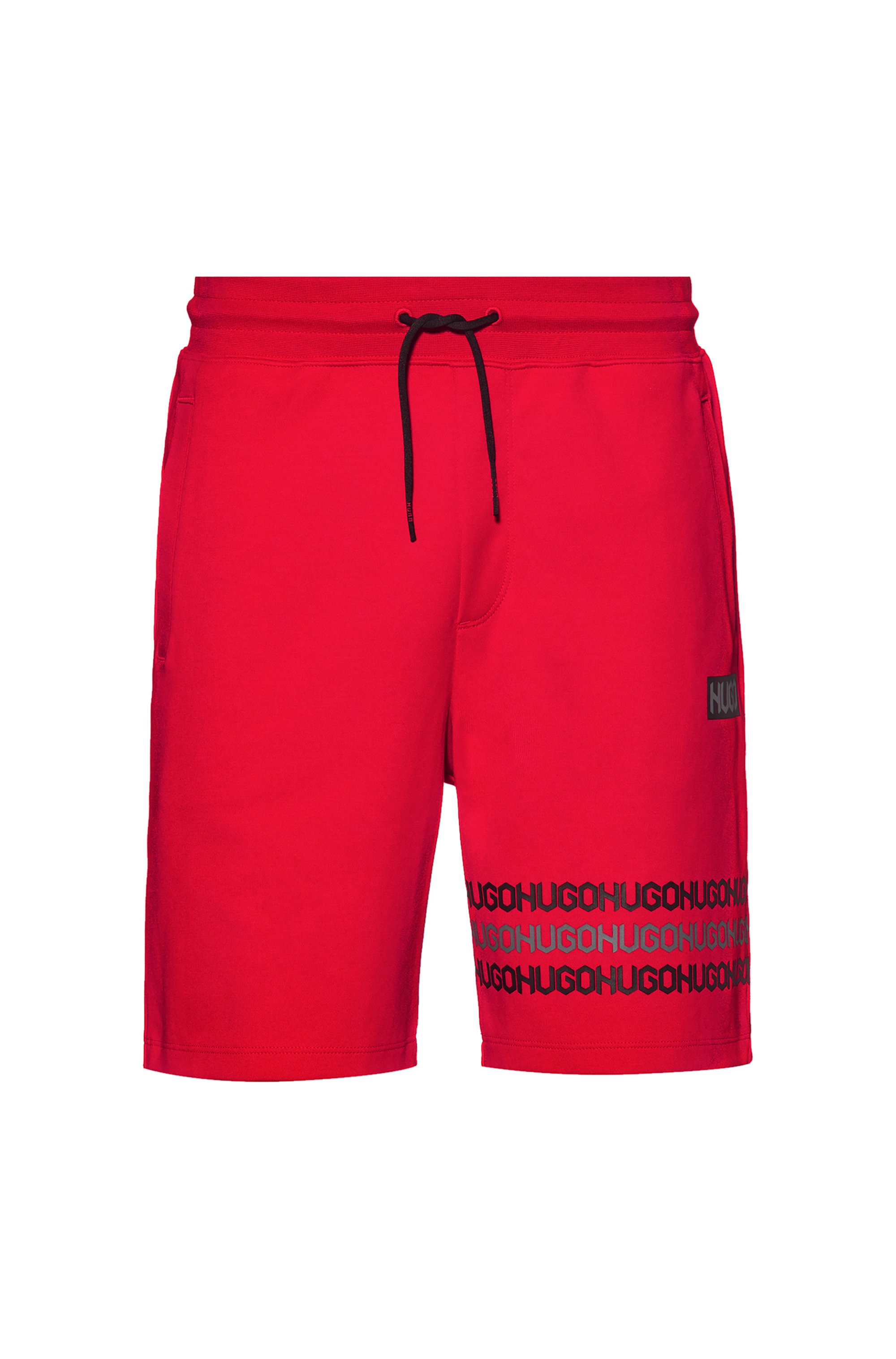 Cotton-terry shorts with tyre-print logos, Red