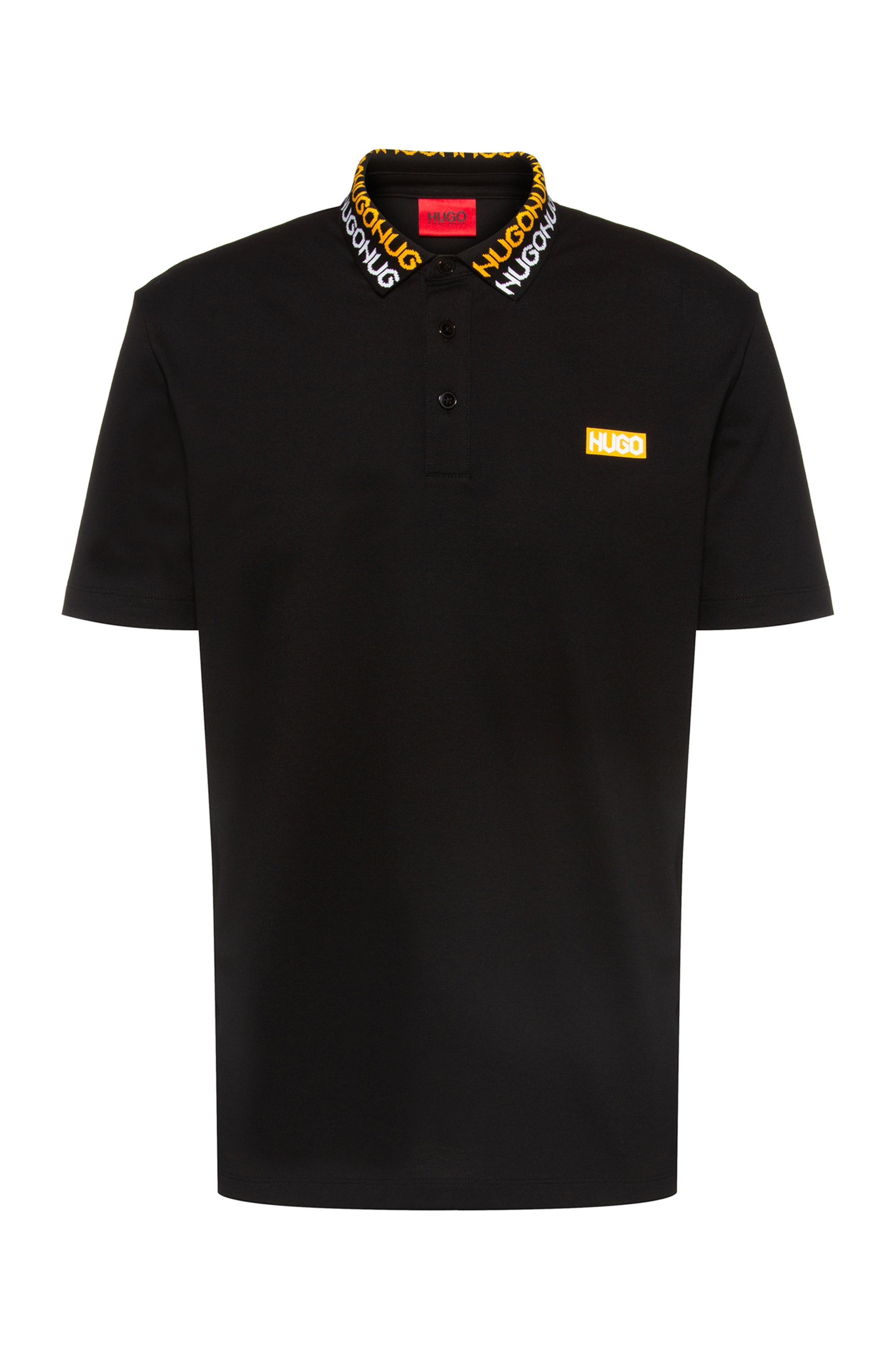 Permafit-cotton polo shirt with tyre-print logos, Black