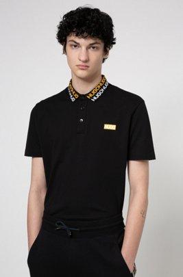 Permafit-cotton polo shirt with tyre-print logos, Black