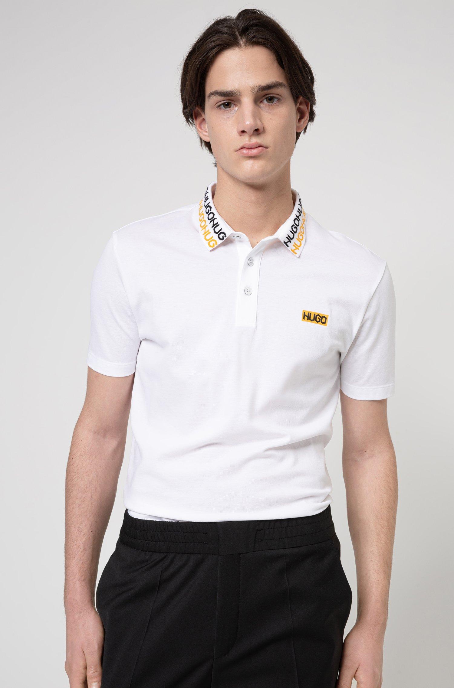 Permafit-cotton polo shirt with tyre-print logos, White