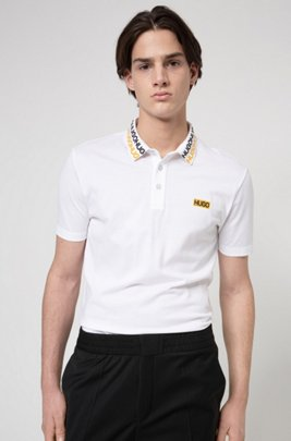 Permafit-cotton polo shirt with tyre-print logos, White