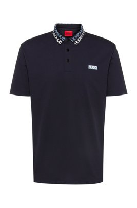 Permafit-cotton polo shirt with tyre-print logos, Dark Blue