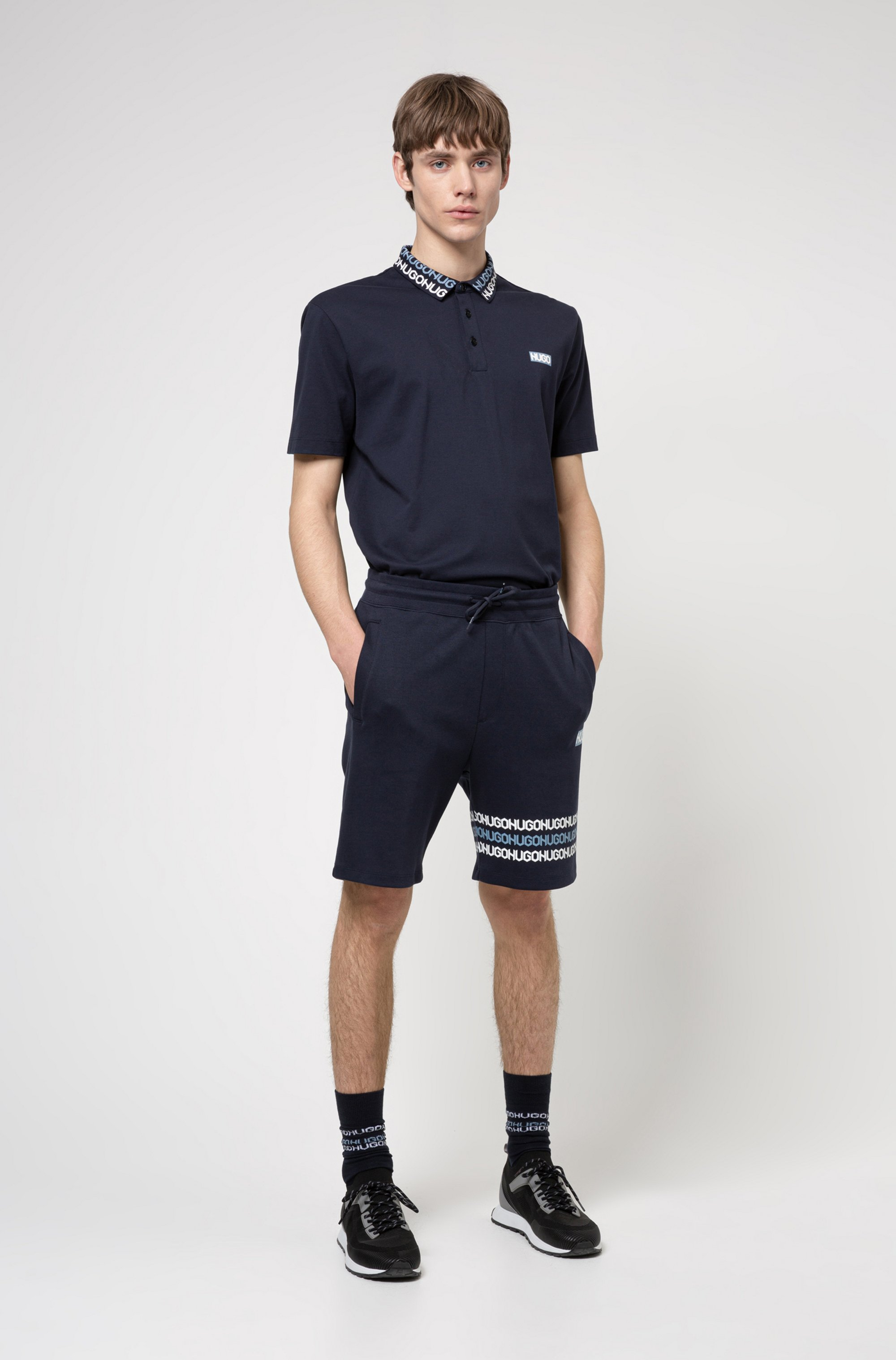 Permafit-cotton polo shirt with tyre-print logos