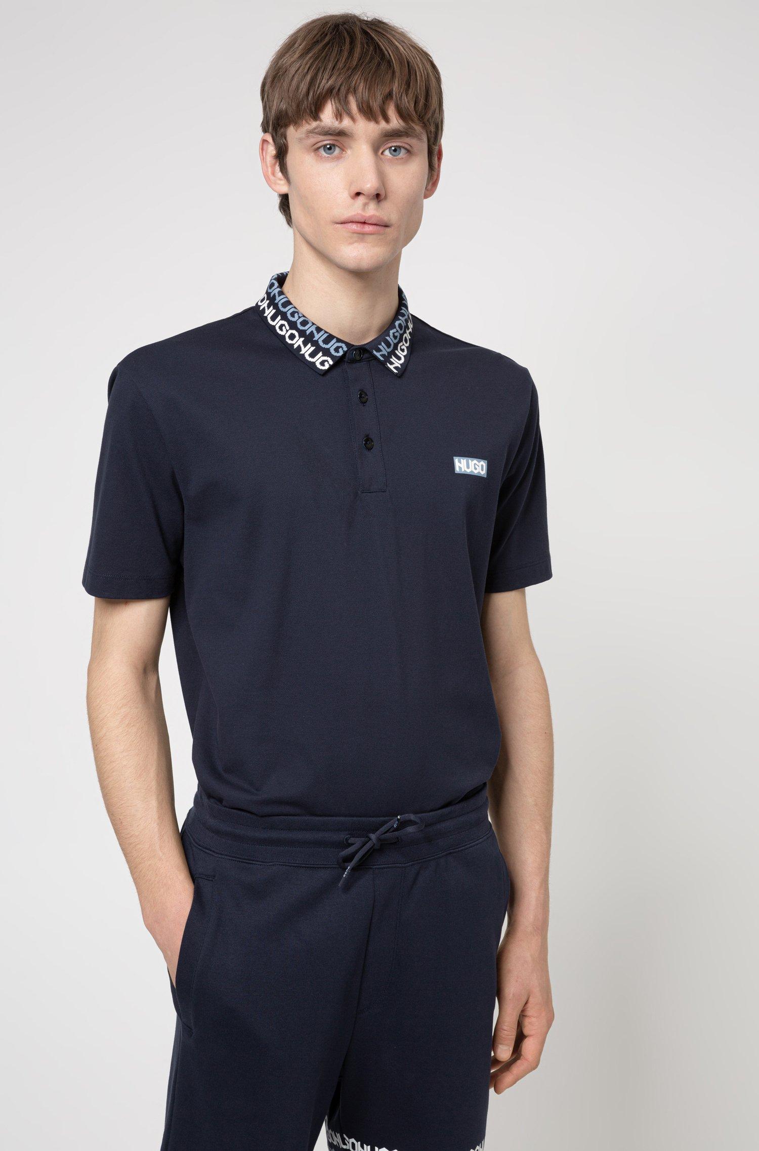 Permafit-cotton polo shirt with tyre-print logos, Dark Blue