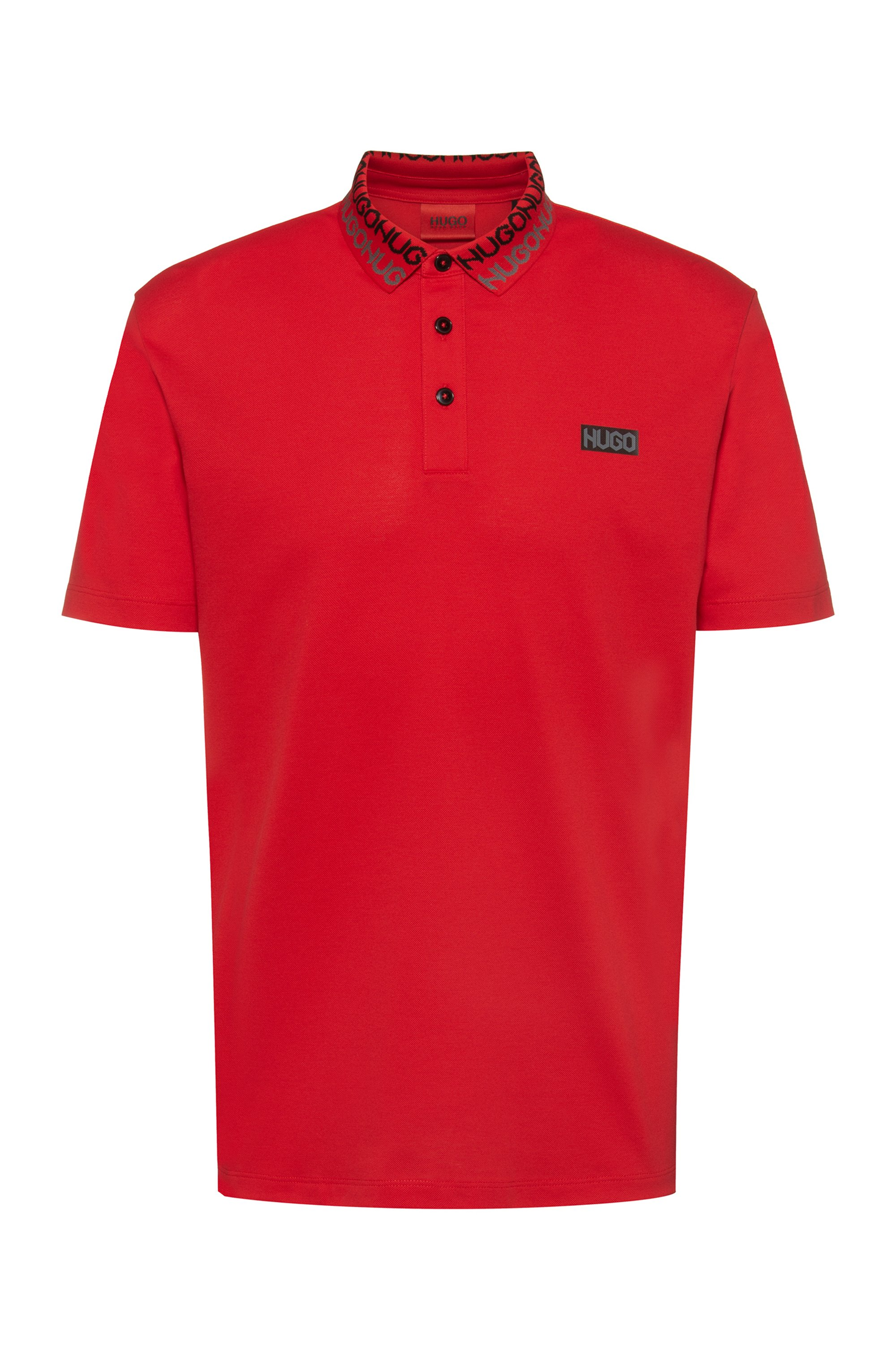 Permafit-cotton polo shirt with tyre-print logos, Red