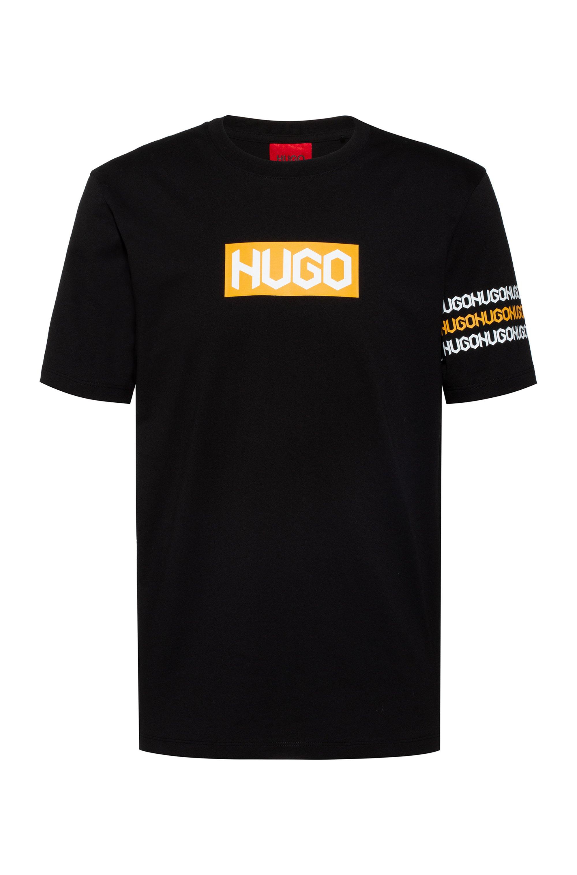 Cotton T-shirt with tyre-print logos, Black
