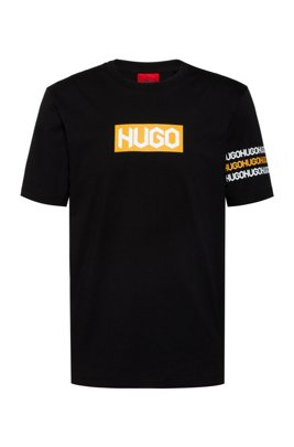 Cotton T-shirt with tyre-print logos, Black