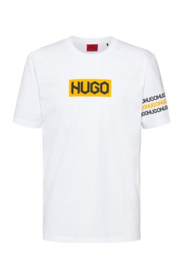 Cotton T-shirt with tyre-print logos, White