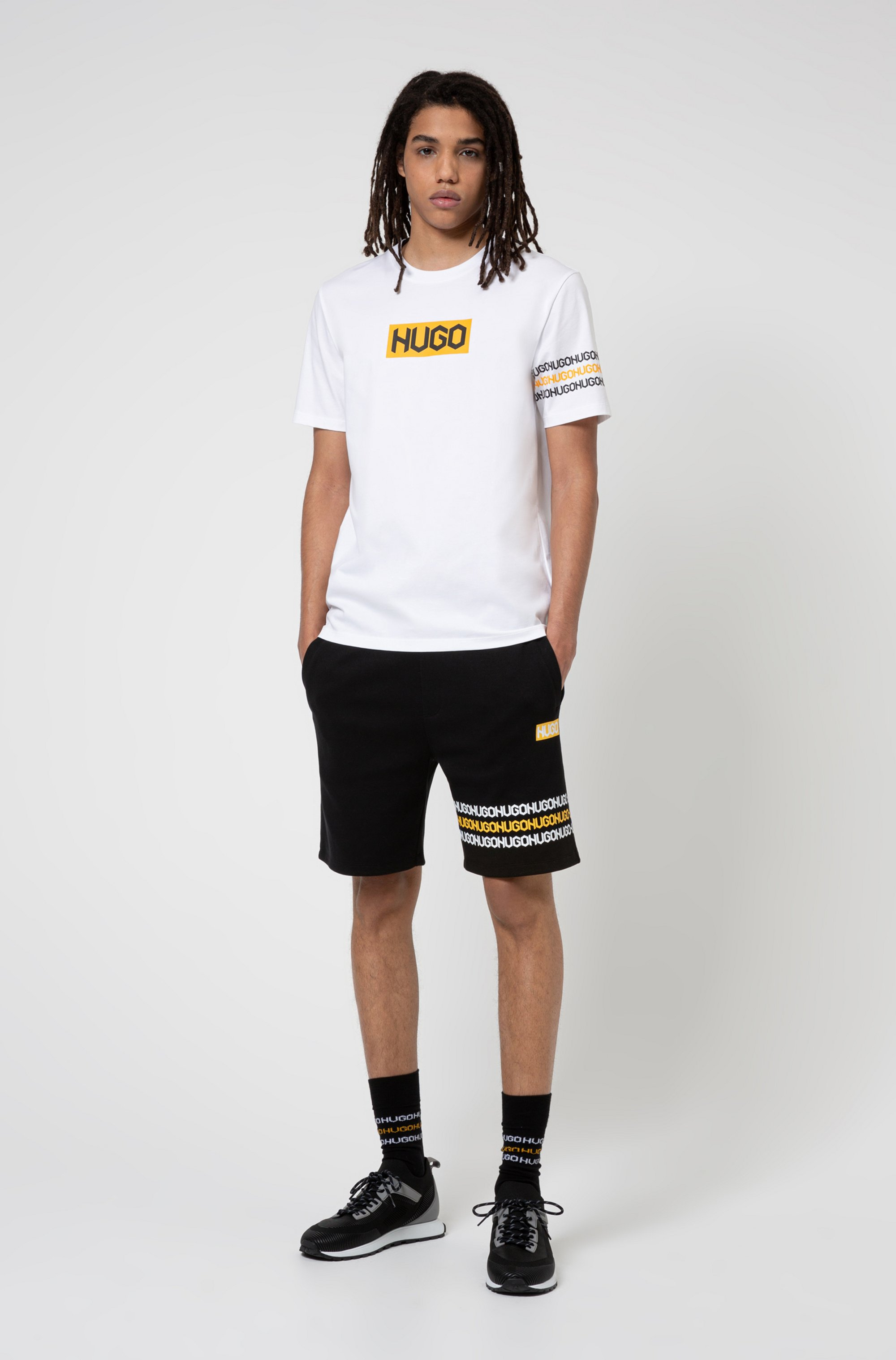 Cotton T-shirt with tyre-print logos