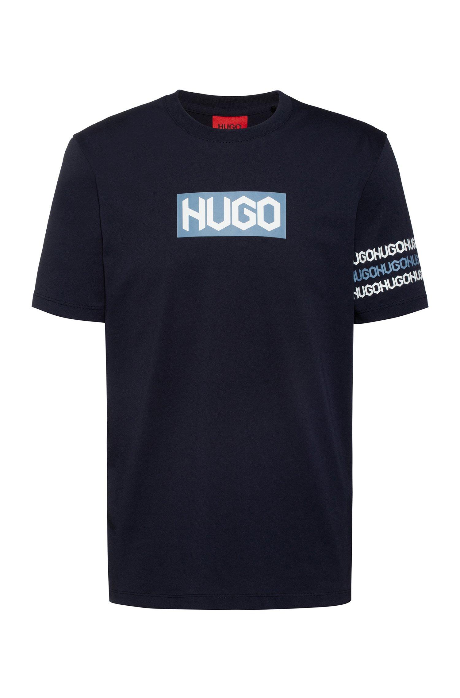 Cotton T-shirt with tyre-print logos, Dark Blue