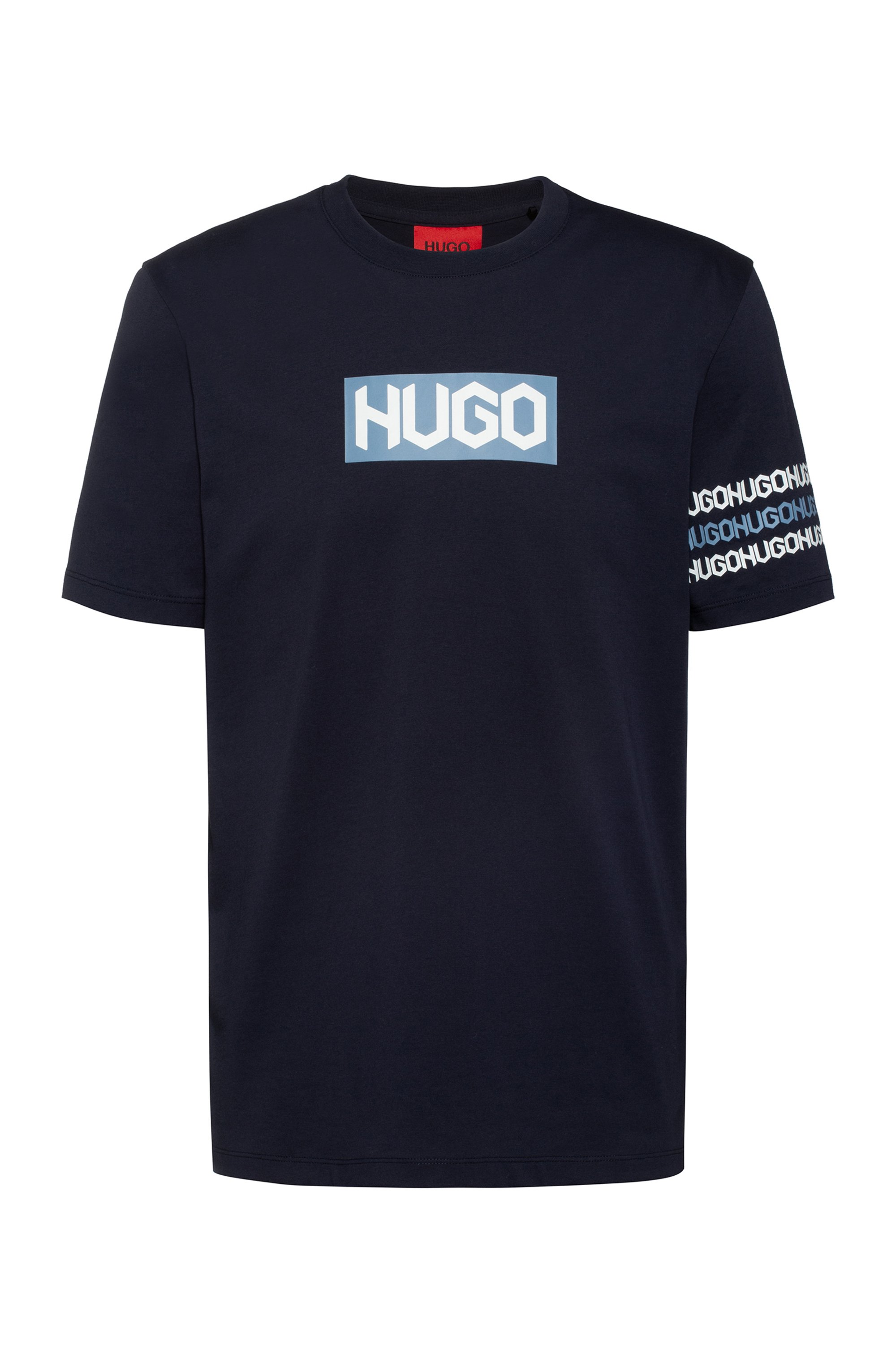 Cotton T-shirt with tyre-print logos, Dark Blue