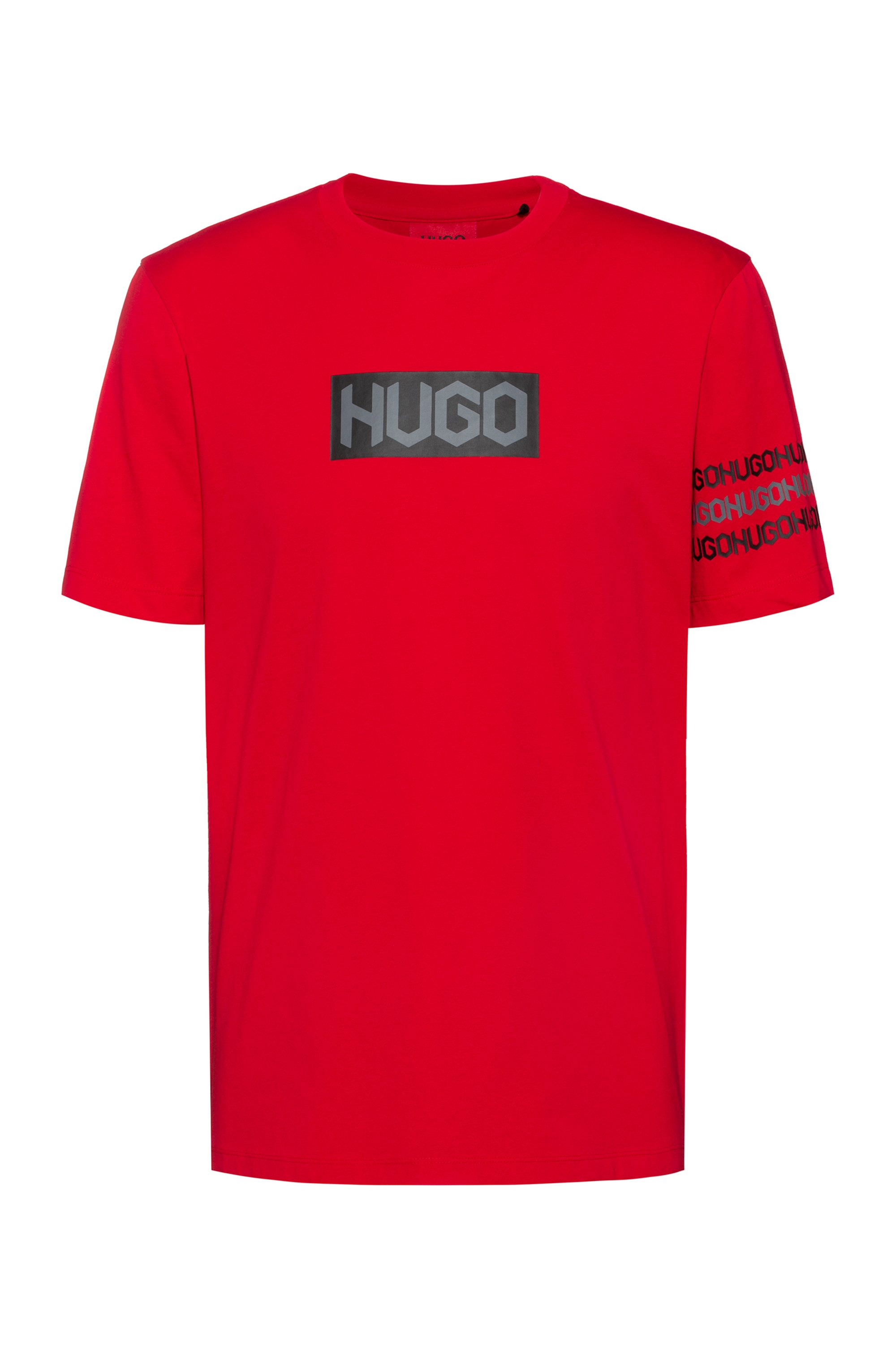 Cotton T-shirt with tyre-print logos, Red