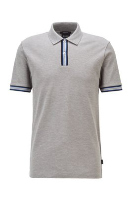 Polo shirt in mercerised cotton with stripe details, Light Grey