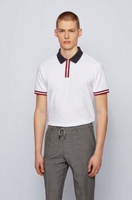 Polo shirt in mercerised cotton with stripe details, White