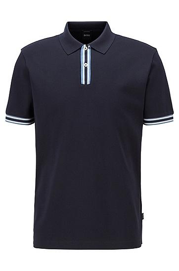 条纹细节丝光棉 Polo 衫,  402_暗蓝色