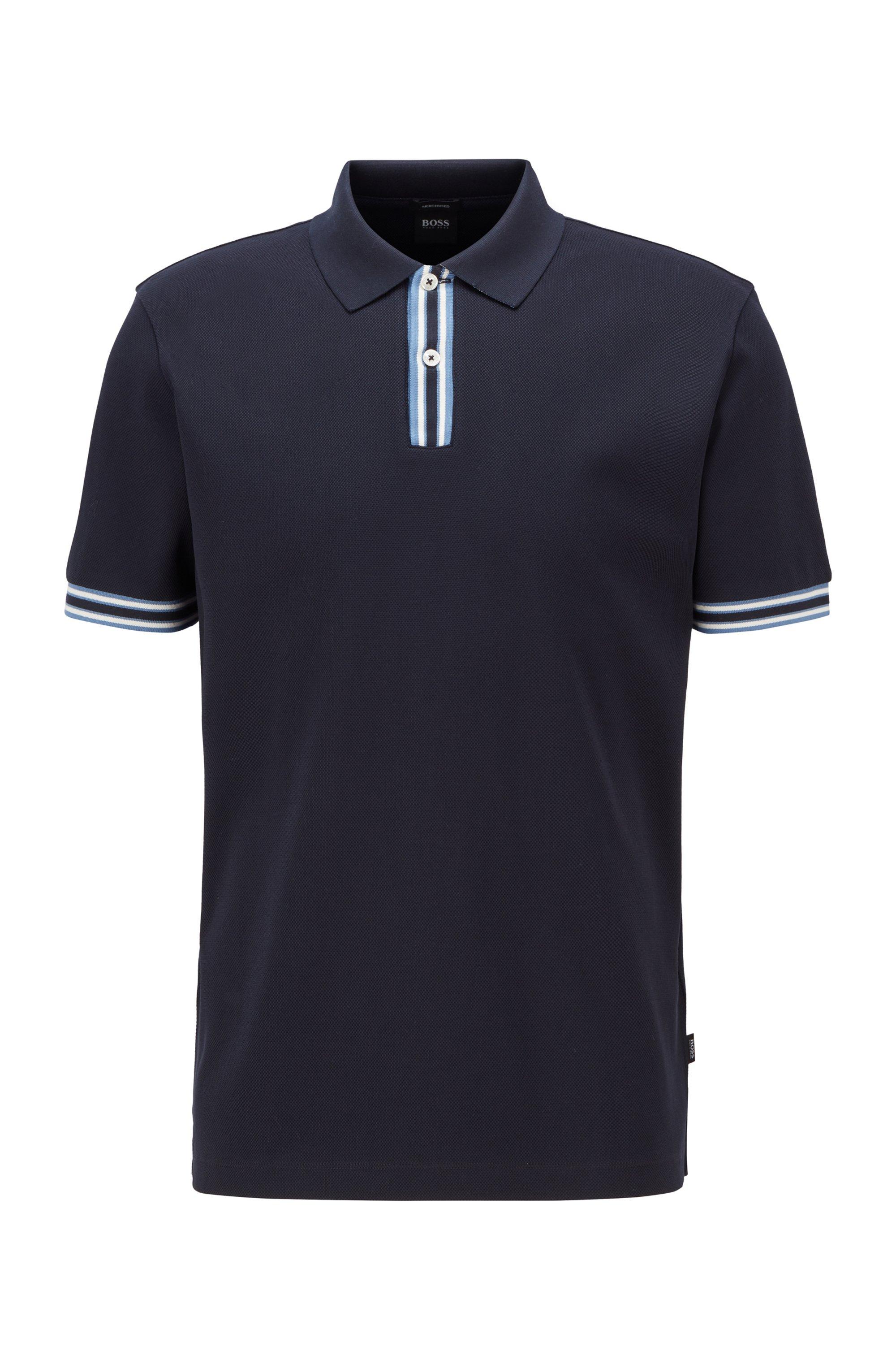 Polo shirt in mercerised cotton with stripe details, Dark Blue