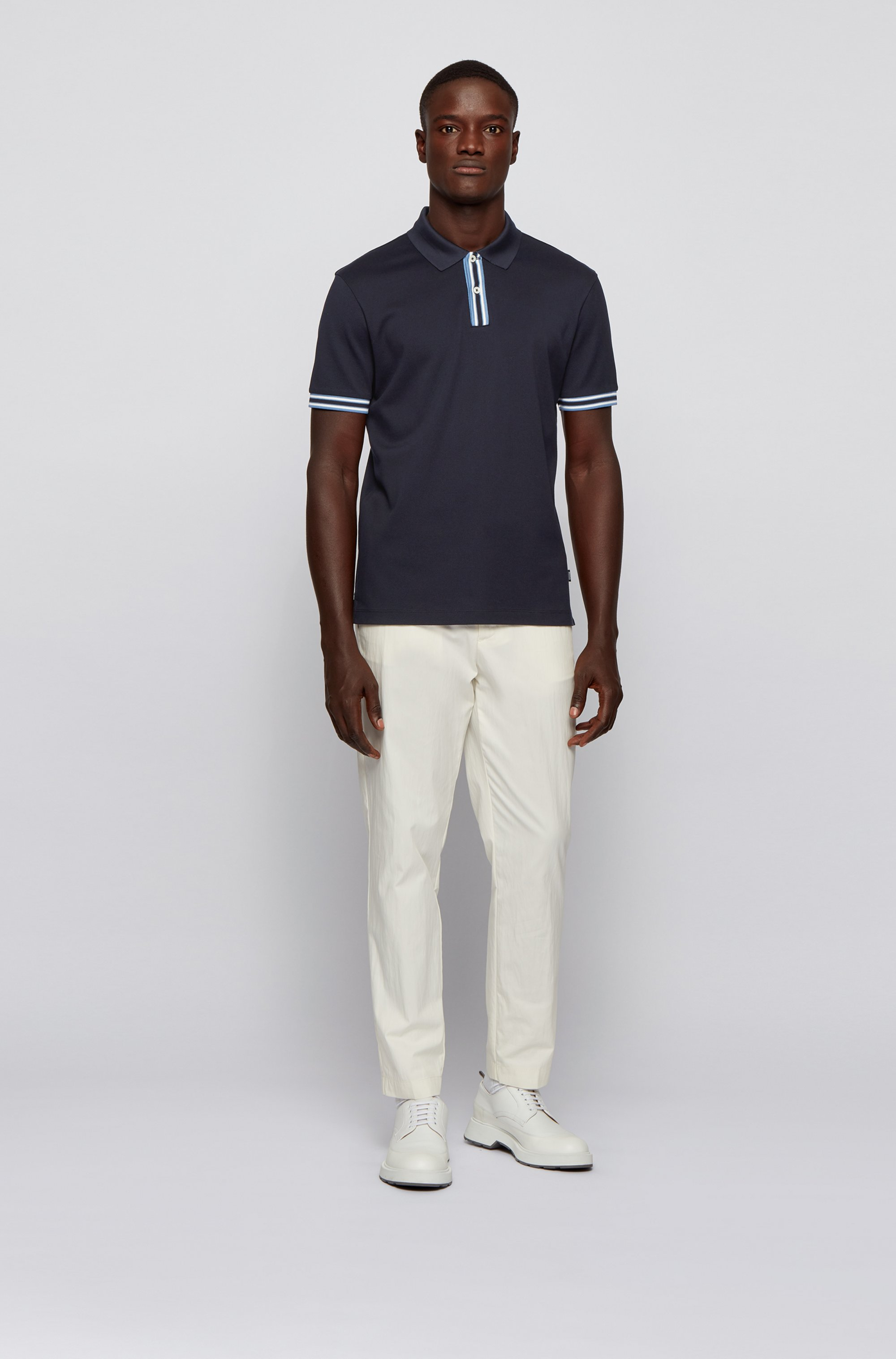 Polo shirt in mercerised cotton with stripe details