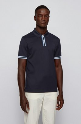 Polo shirt in mercerised cotton with stripe details, Dark Blue
