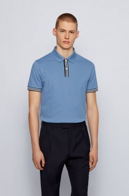 Polo shirt in mercerised cotton with stripe details, Light Blue